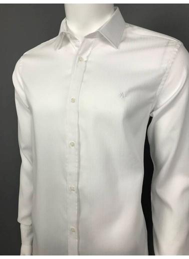 Abbate Klasık Yaka Armürlü Slımfıt Gömlek Beyaz
